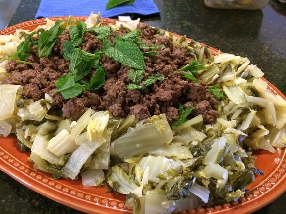 [Cumin Ground Lamb and Braised Napa Cabbage]